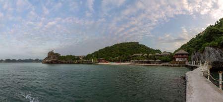 Monkey island beach scenario Lan Ha bay, landmark destination, Cat Ba islands (South of Halong bay), Vietnam.