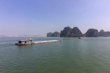 Beautiful panorama of Ha Long Bay (Descending Dragon Bay) popular tourist destination in Asia. Gulf of Tonkin in the South China Sea, Vietnam.