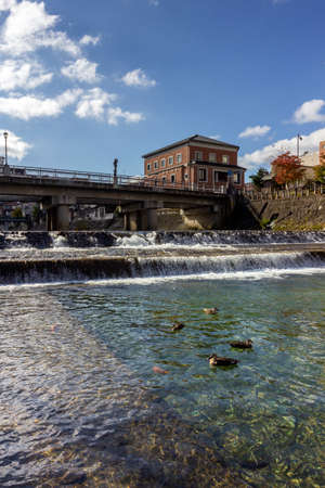 Miyagawa river in Takayama, a city in the northern mountainous Hida region of Gifu Prefecture, located in the heart of the Japan Alps.