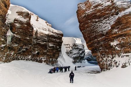 norwegian arctic expedition on snowmobiles.
