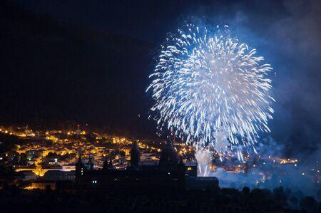 fireworks on the feast of san lorenzo del escorial 2011 Stock Photo