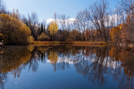 landscape of the reflections in the calm lake on a sunny autumn day Stock Photo