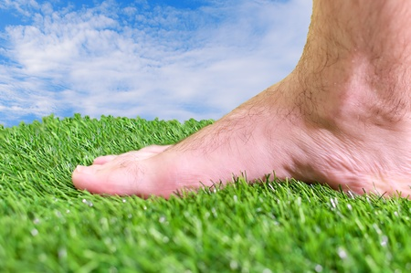 Barefoot on the fresh green grass on a sunny day Stock Photo - 16126685