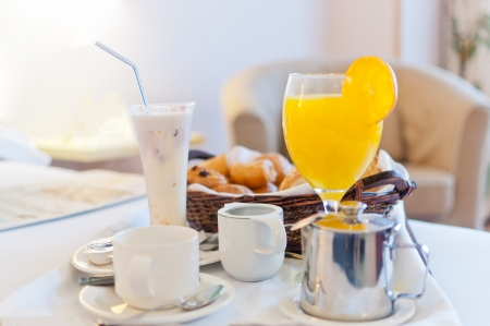 Full continental breakfast served in bed ready to take