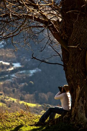 Woman sitting on a tree on a nice sunny day while enjoying with your camera photo