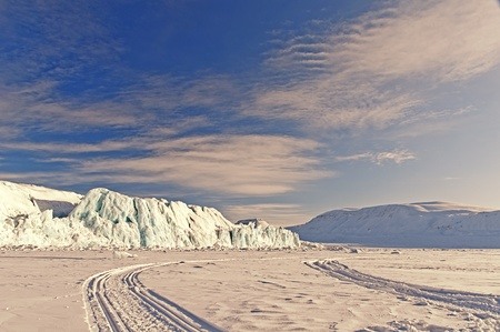 artic circle: Iceberg in the sea ice in the Arctic pole one day sunny and colorful winter