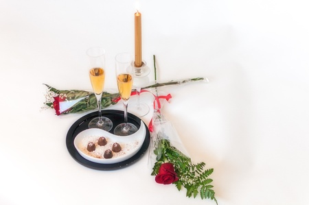 Champagne, chocolates and roses - 2  Horizontal - white background  photo