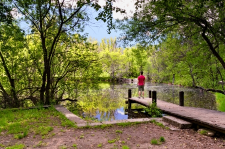 Man standing on wooden pier watching the calm lake on a warm and sunny spring day  photo