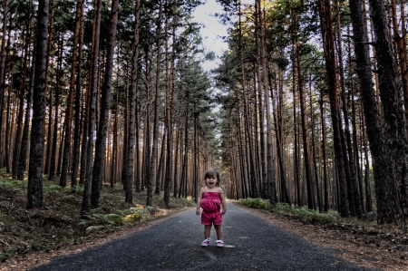 Girl lost in the woods terrified cries inconsolably  Stock Photo