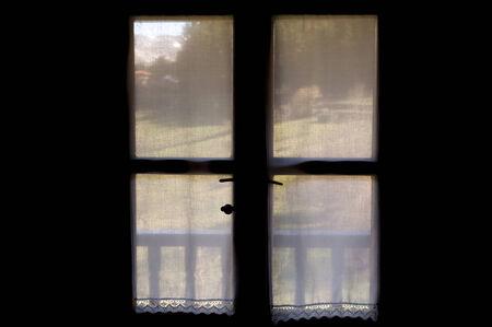 view through: Landscape view through curtains