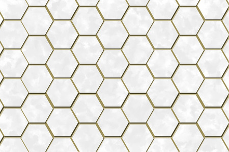 Hexagons white screen background texture with marble and gold trim