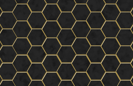 Hexagons black screen background texture with marble and gold trim photo
