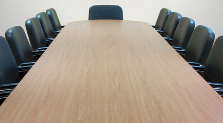 Empty meeting room and conference table Stock Photo