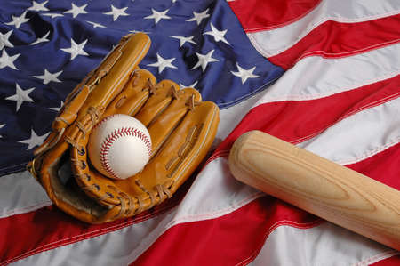Baseball, bat and glove symbolizing the American Pastime Stock Photo - 519157