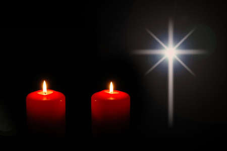 Christmas candles with star in the shape of the cross with background for text.