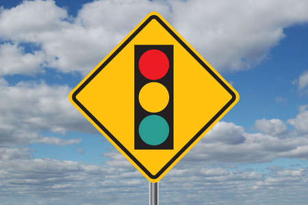 Traffic light ahead sign with clouds in the background Stock Photo - 566775