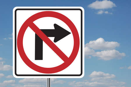 No right turn traffic sign with clouds in the background photo