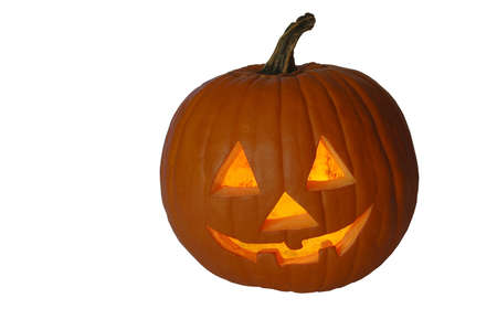 Jack-O-Lantern Pumpkin with white background and clipping path (isolated) photo