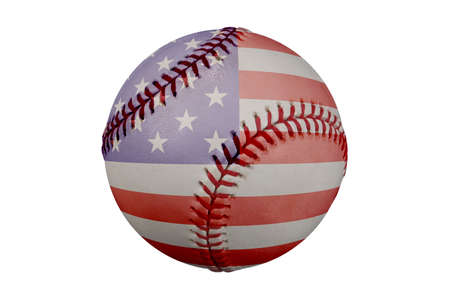 double game: Baseball with American flag and clipping path