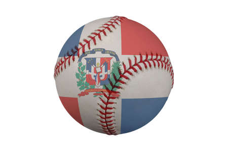 homerun: Baseball with the Dominican Republic flag (with clipping path)
