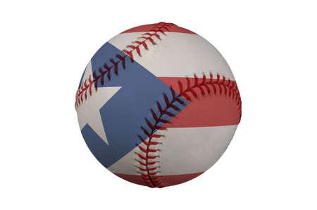 bandera de puerto rico: B�isbol con la bandera de Puerto Rico (clipping path)