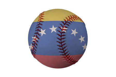 Baseball with the flag of Venezuela (clipping path) photo