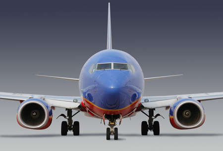 Southwest Airlines airplane with clipping path on neutral background