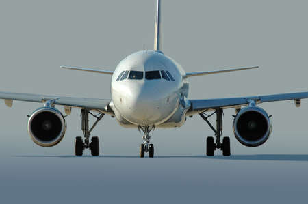 Commercial airliner taxiing at the airport Stock Photo