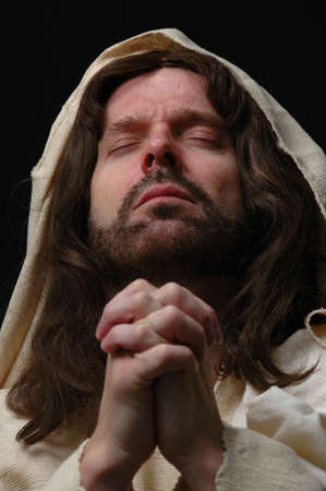 Portrait of Jesus in prayer with dark background Stock Photo - 1124998