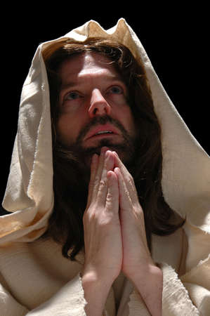Portrait of Jesus in prayer with dark background Stock Photo - 1125004