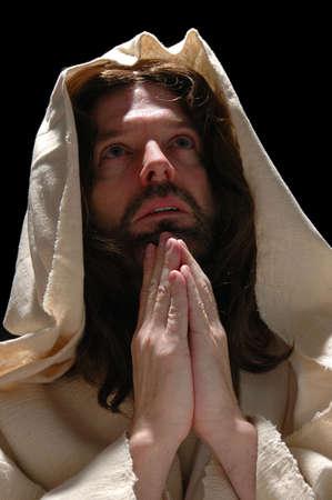 Portrait of Jesus in prayer with dark background Stock Photo - 1125004