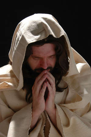 Portrait of Jesus in prayer with dark background Stock Photo - 1125005