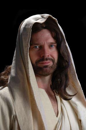 jesus hands: Portrait of Jesus_Close up with dark background Stock Photo
