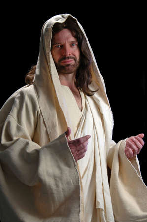 Portrait of Jesus with gentle look on dark background Stock Photo - 1125007