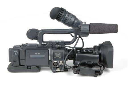 Digital video camera on white background