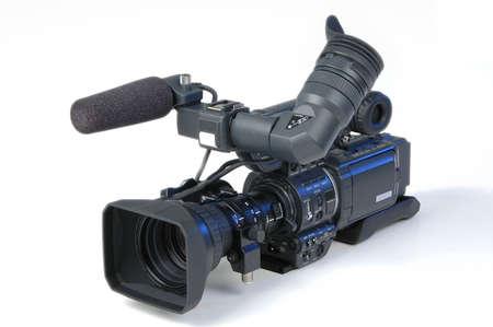 customer records: Digital video camera on white background