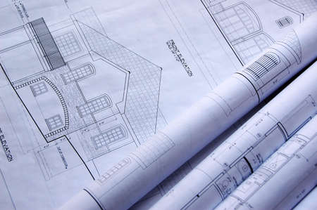 devise: Blueprints of a house and rolls Stock Photo