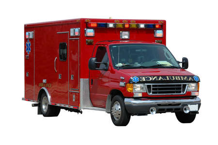 police lights: Ambulance isolated on a white background