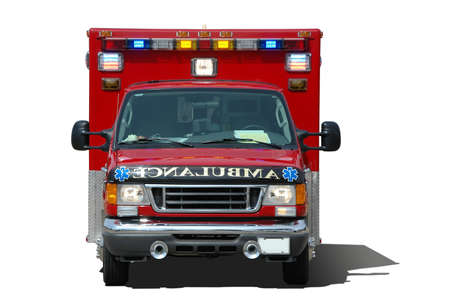 frontal view: Ambulance isolated on a white background frontal view