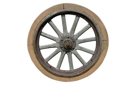 Old wagon wheel isolated on white background Stock Photo - 1125084