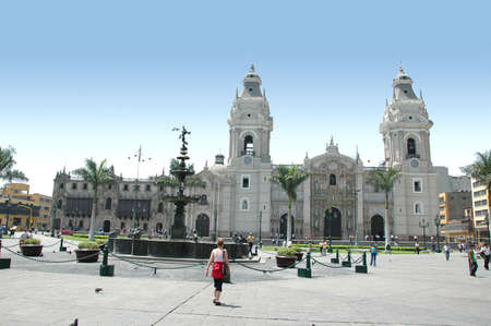 View of downtown Lima peru showing the cathedral Stock Photo