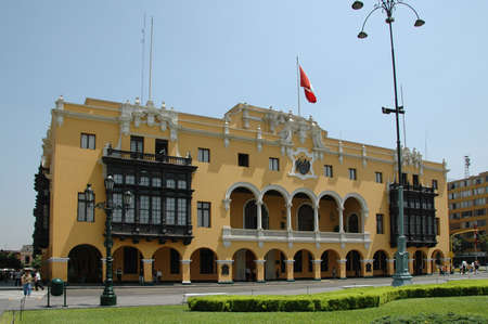 View of downtown Lima peru showing the city hall Stock Photo