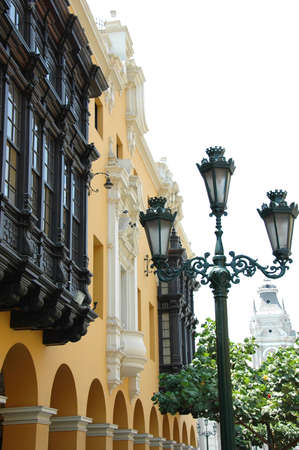 View of downtown Lima Peru with colonial  balcony and street lamp Stock Photo - 1125085