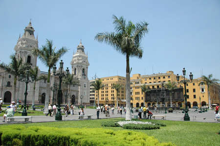 Downtown in Lima Peru showing cathedral and colonial buildings photo
