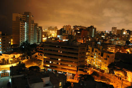 View of Miraflores in Lima Peru at night 写真素材
