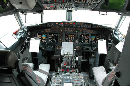 Cockpit view of a commertial airplane Stock Photo