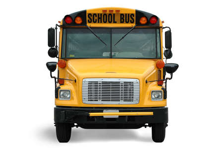 school transportation: Vista frontal del autob�s escolar contra el fondo blanco