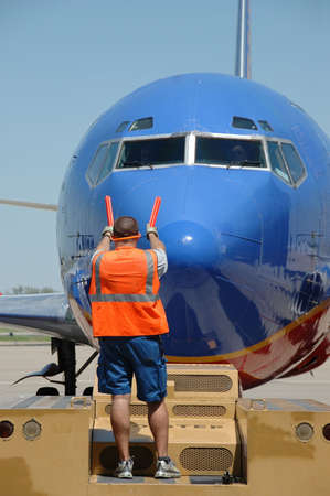 Southwest airlines airplane arriving at the gate on a sunny day Stock Photo