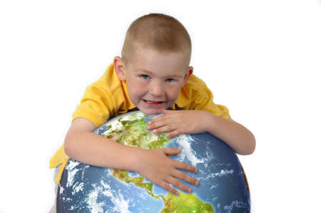 Boy hugging the earth photo