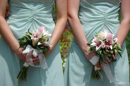 bridesmaids: Bridesmaids holding bouquet Stock Photo
